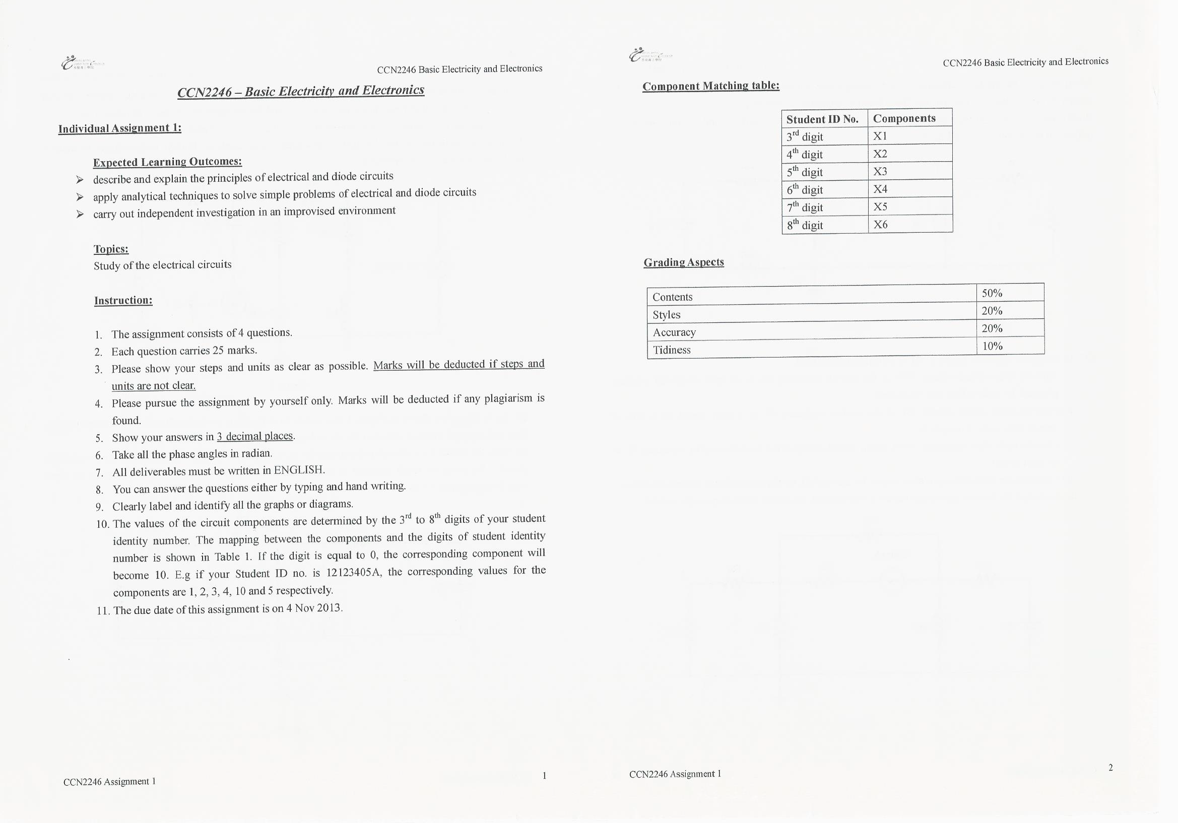 Polyu Ccn2246 Basic Electricity And Electronics Assignment 1 Payhip Basicelectricity