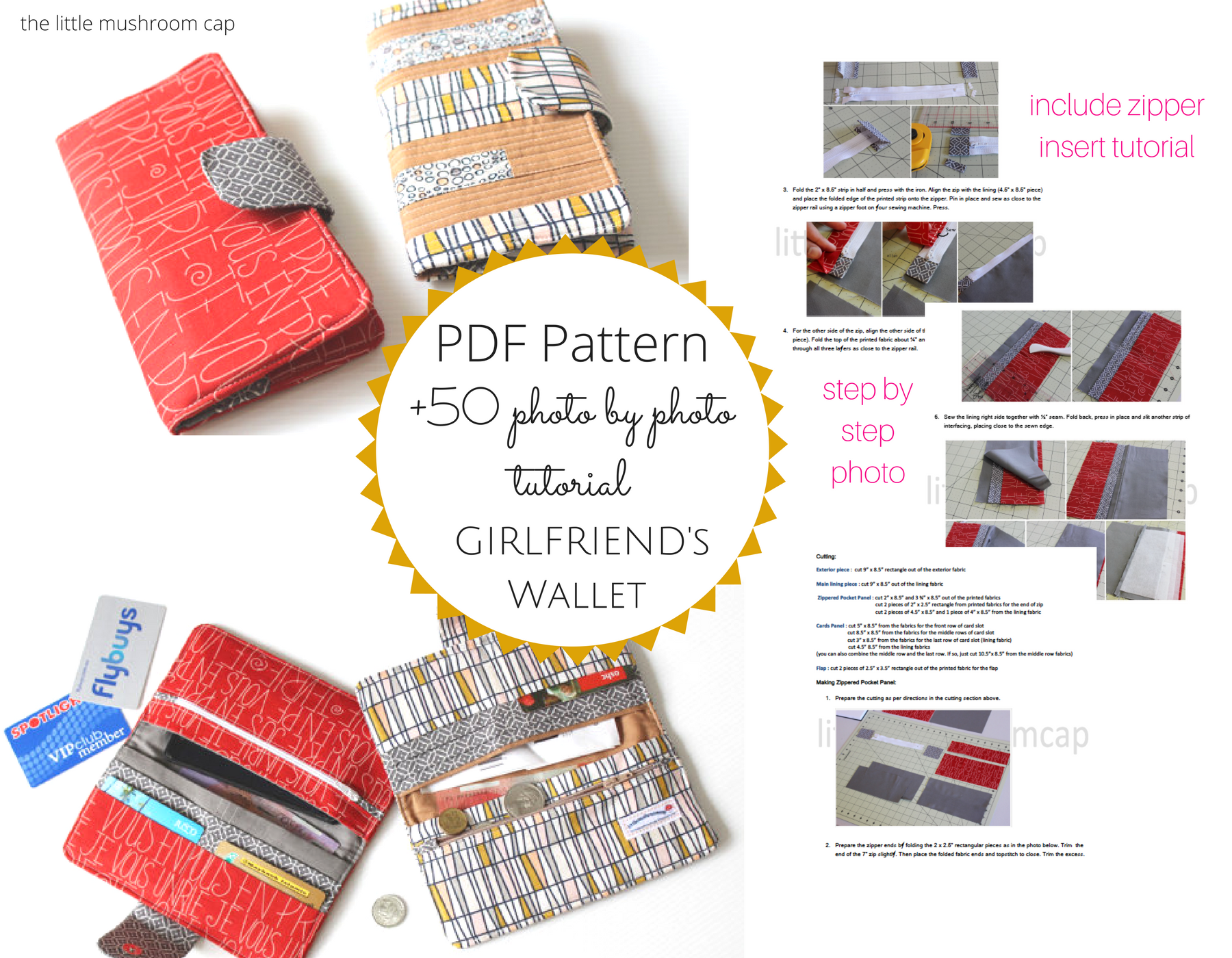 ed08a37f772 Girl Friend s Wallet Sewing   +50 Photo step by step tutorial - Payhip
