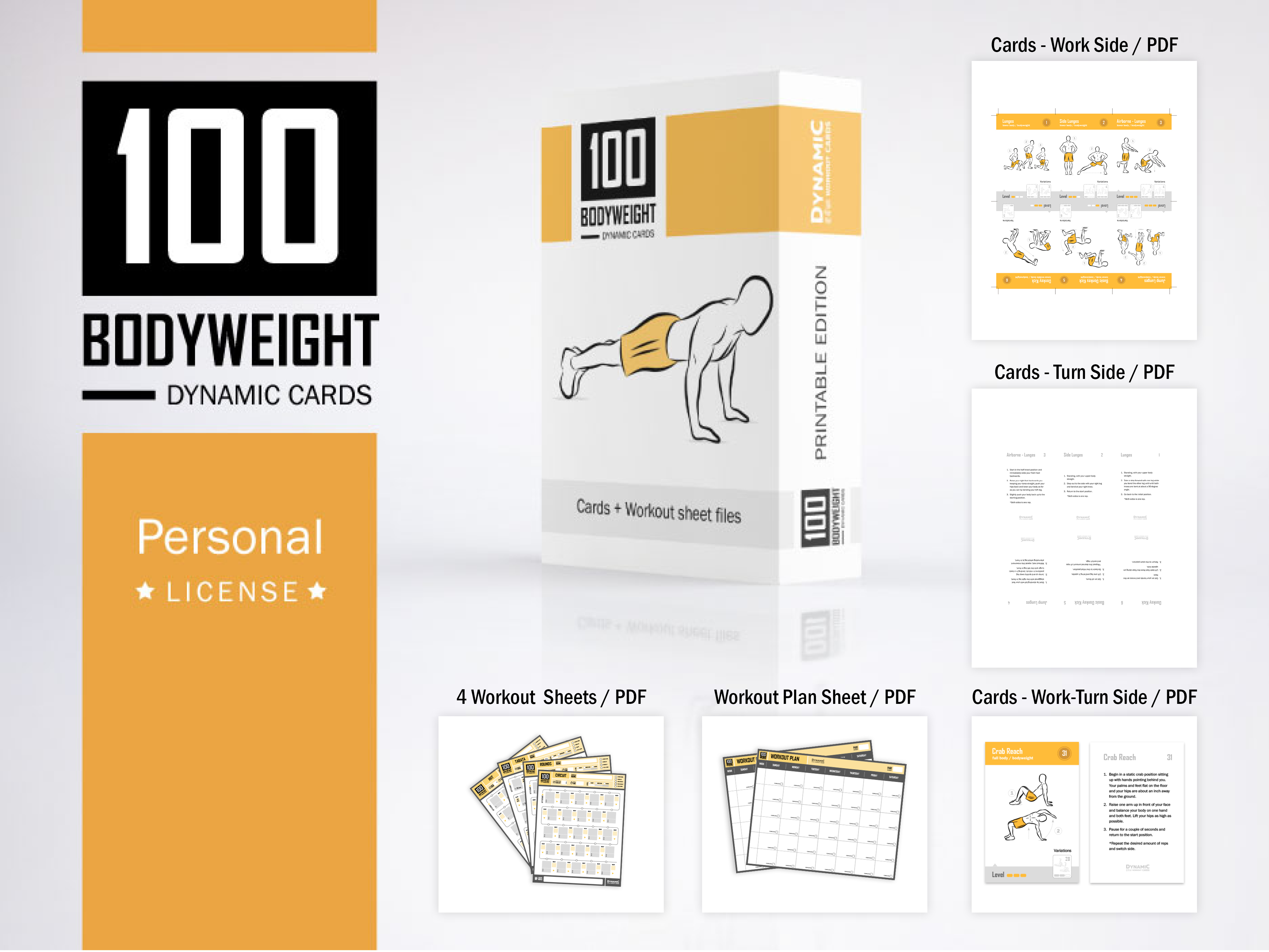 photo about Printable Workout Cards known as 100 Pounds Playing cards / Individual License - PDF