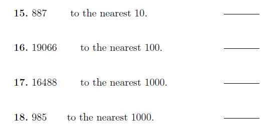 Rounding numbers to the nearest 10, 100, 1000 worksheet (with answers)