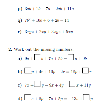 Simplifying expressions by collecting like terms worksheet (with solutions)
