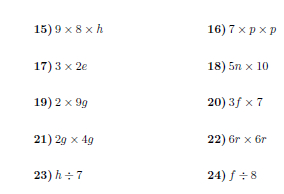 Algebraic notation worksheet (with solutions)