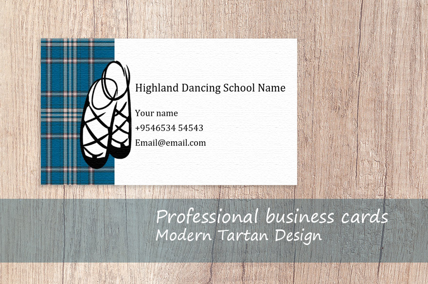 modern tartan business card customisable template