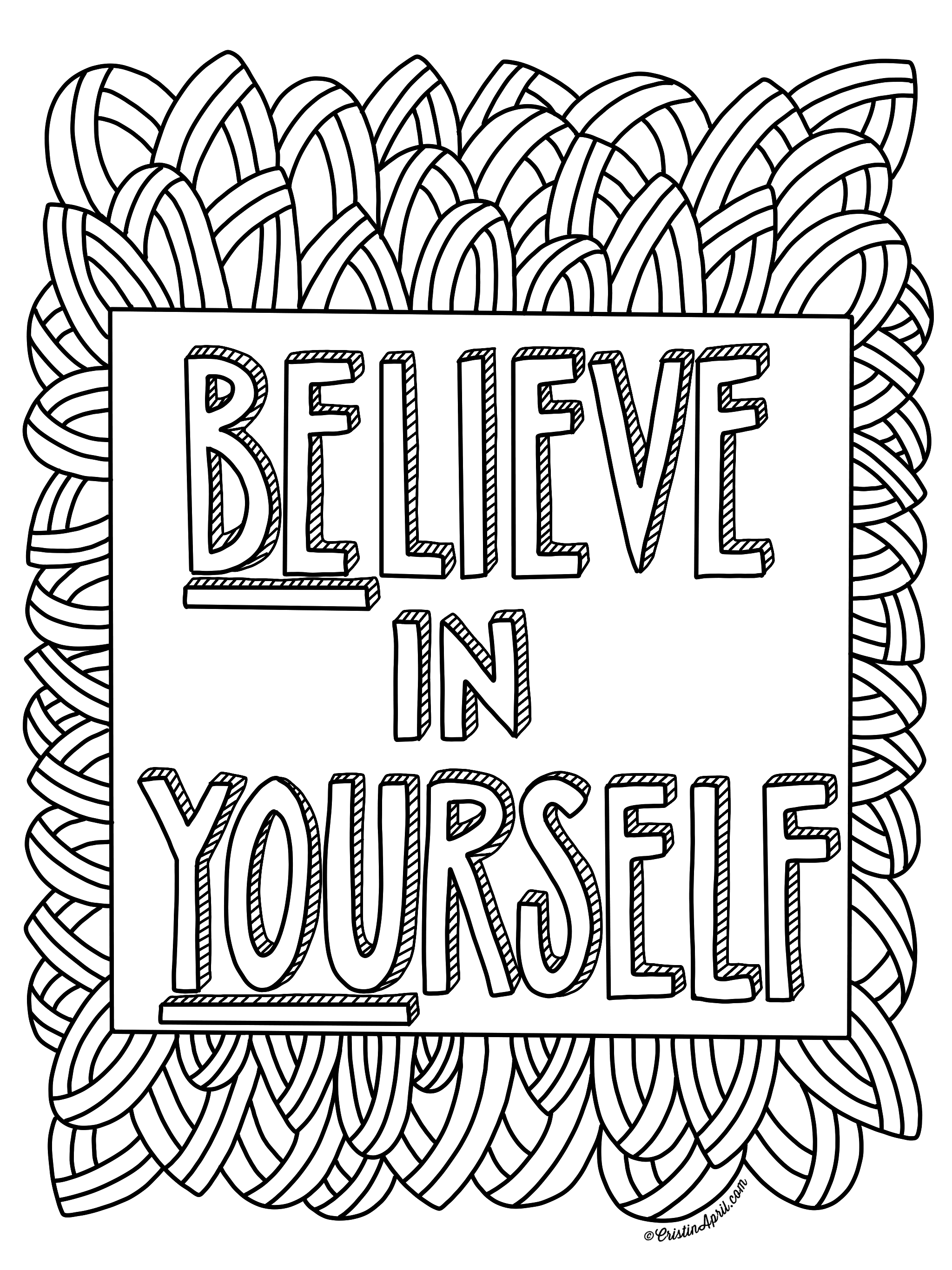 Believe in Yourself, Free Coloring Page - Payhip