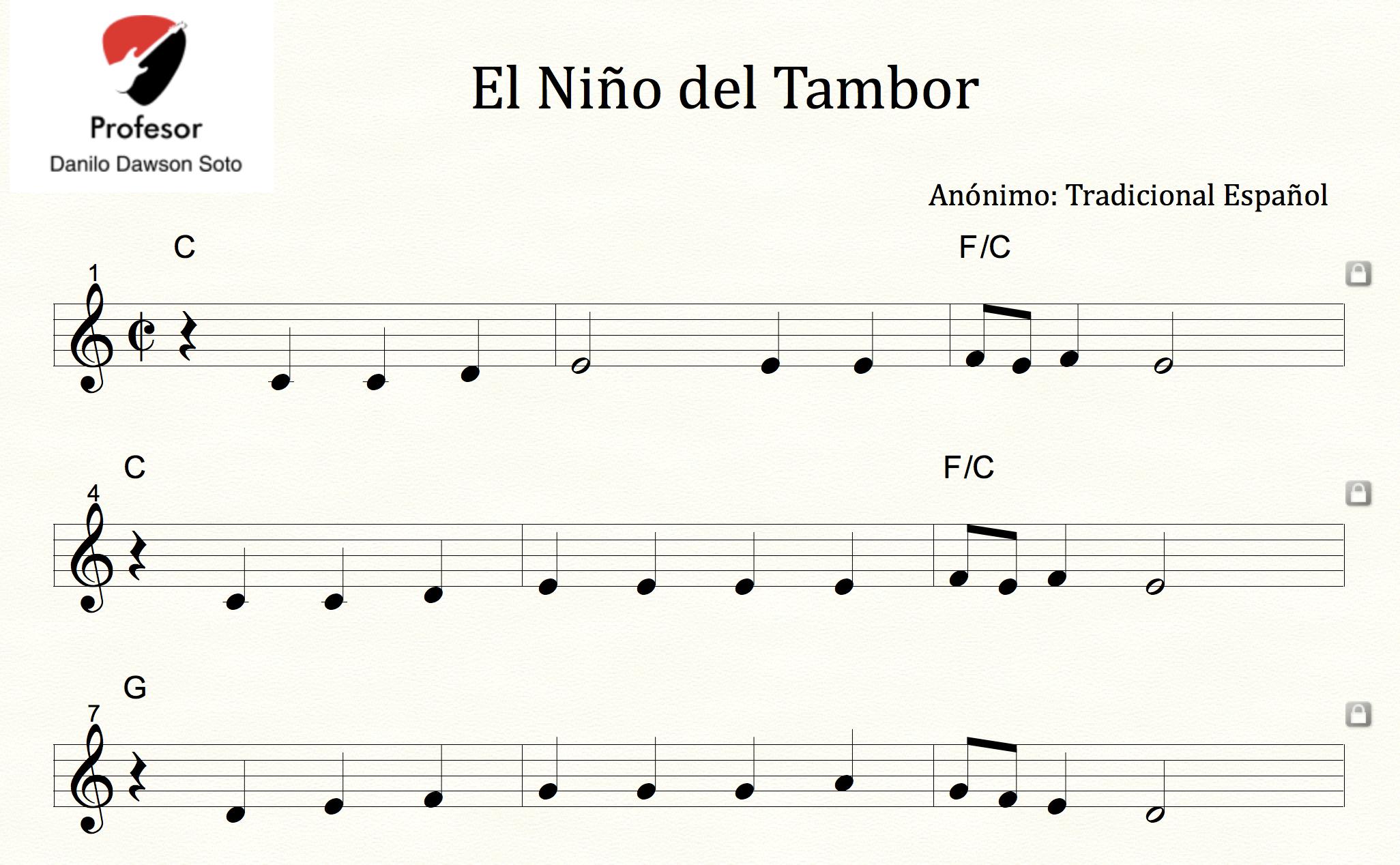Partitura El Niño Del Tambor Villancico Tradicional Español Payhip