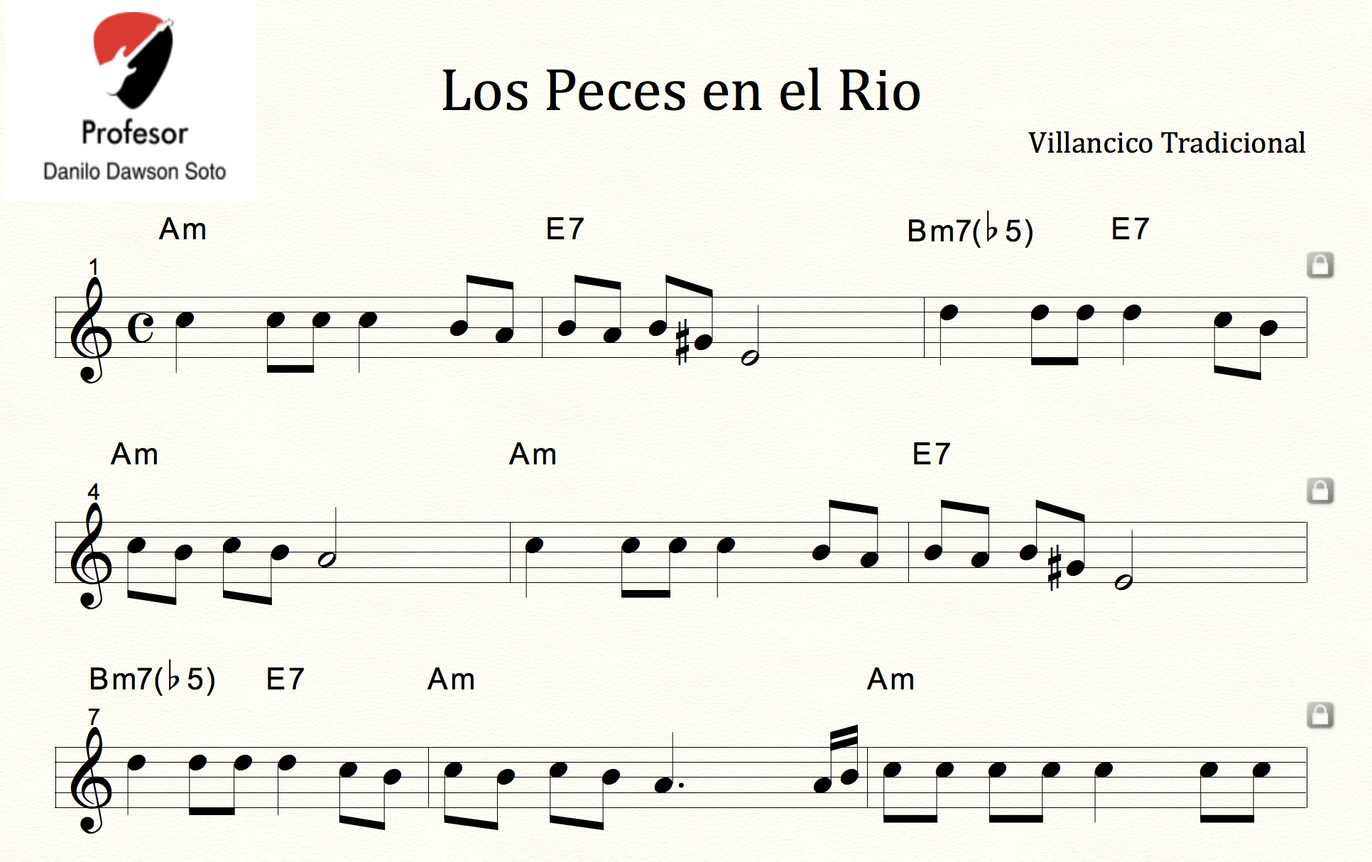 Partitura Los Peces En El Río Villancico Tradicional