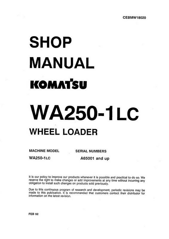 komatsu wa250-1lc wheel loader (a65001 and up) shop manual - cebmw18020 -  payhip