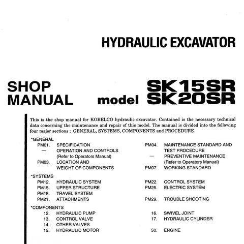 KOBELCO SK15SR SK20SR EXCAVATOR OPERATORS OPERATION MAINTENANCE MANUAL