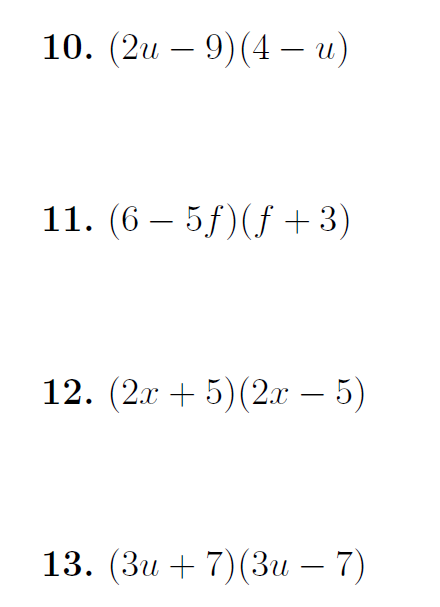 Multiplying out two brackets (harder exercises) worksheet (with solutions)
