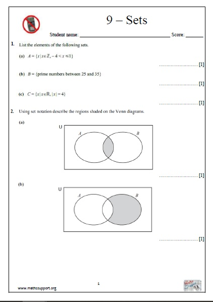 IGCSE Topic 9: Sets - Non-calculator questions - Payhip