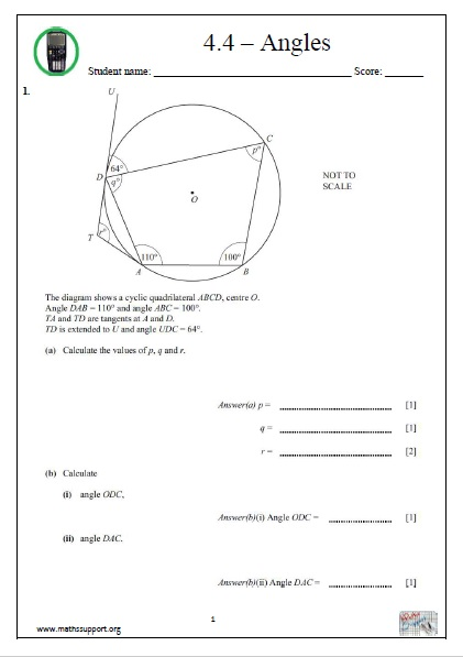 IGCSE, Topic 4 4 Angles  Calculator questions - Payhip