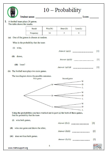 IGCSE, Topic 10 Probability  Calculator questions  - Payhip