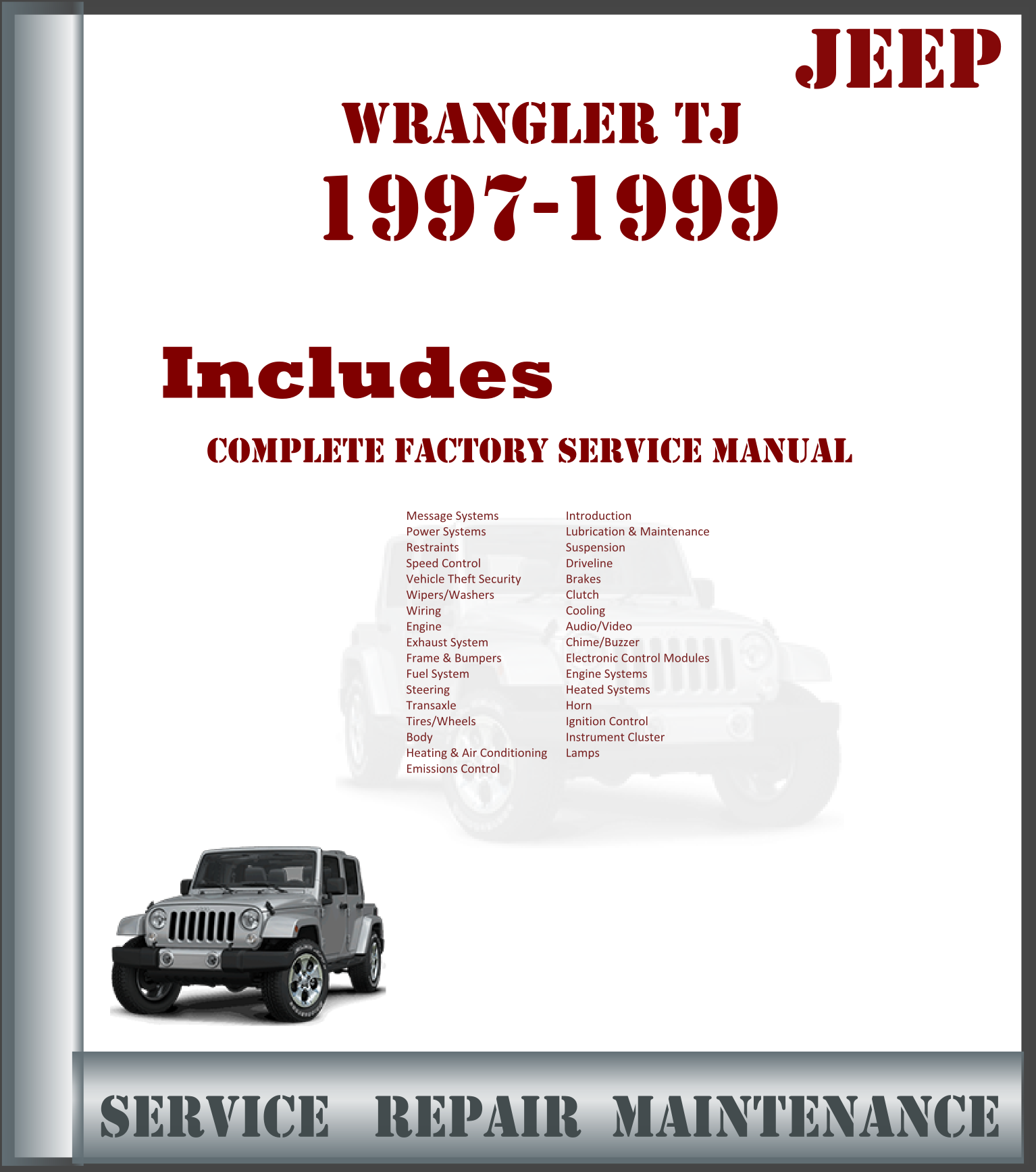 Jeep Wrangler 1997 1998 1999 Complete Factory Service