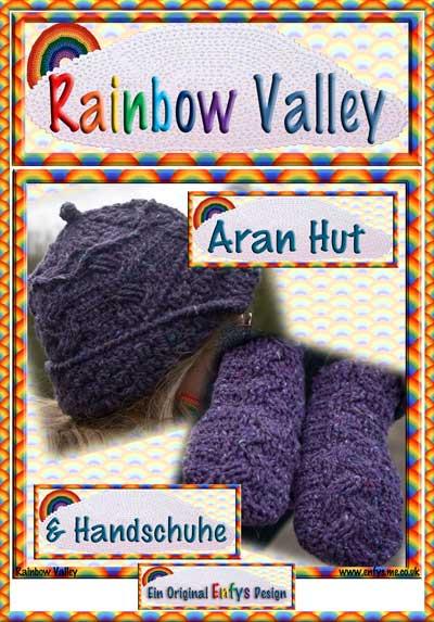 Aran Hut und Handschuhe Häkelmuster
