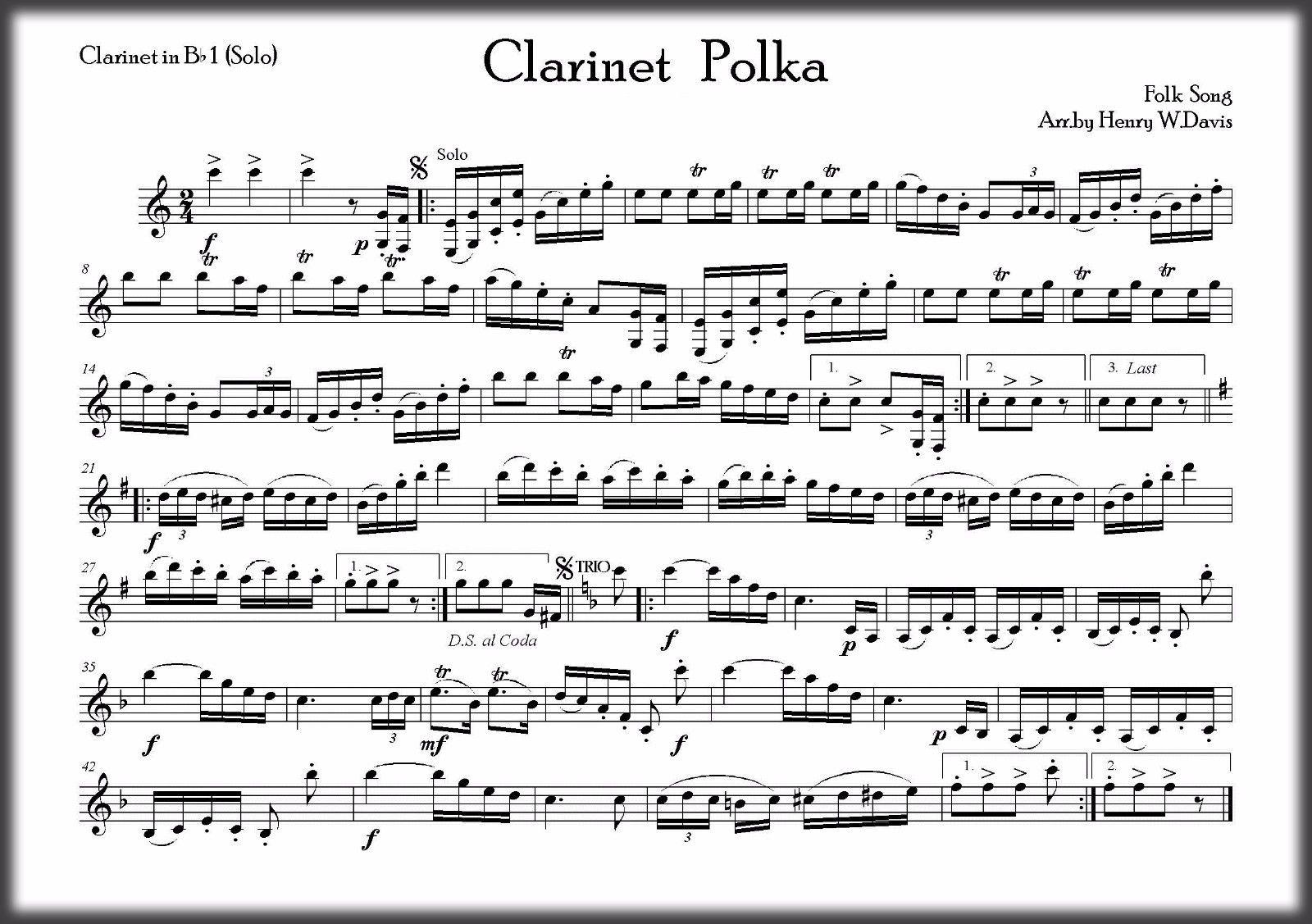 Marching Band Sheet Music - Clarinet polka by Luis F  Boos PDF