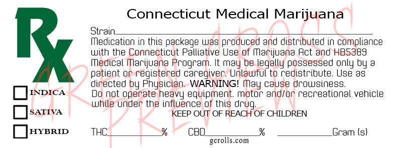 connecticut rx medical marijuana 30 pcs label template